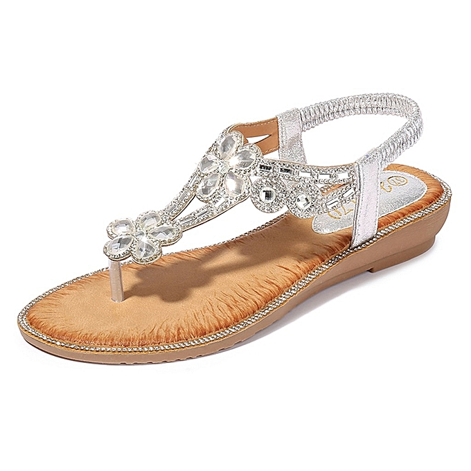 Fashion (Xiuxingzi) Bohemia SummerfemmesLadiesBling Flower Crystal Flat Sandals Beach Casual chaussures à prix pas cher