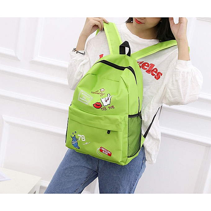 Fashion blicool travel wallet femmes Girls Preppy Letter Print Shoulder Bookwallets School Travel Backpack wallet -vert à prix pas cher
