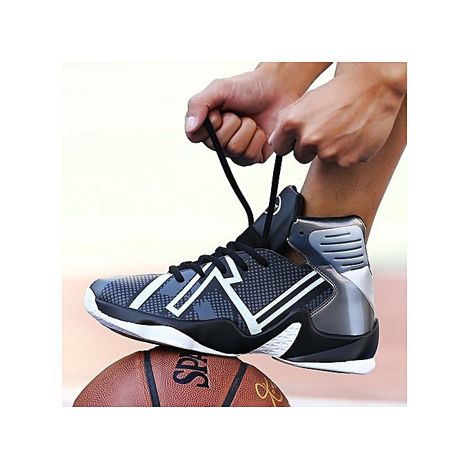Other Men's High Top Sports chaussures Shockproof Luminous Basketball chaussures -noir gris à prix pas cher