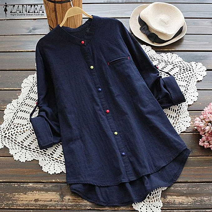 Zanzea ZANZEA femmes Long Sleeve Casual Shirt Tops Buttons Down Asym Cotton Blouse Plus à prix pas cher
