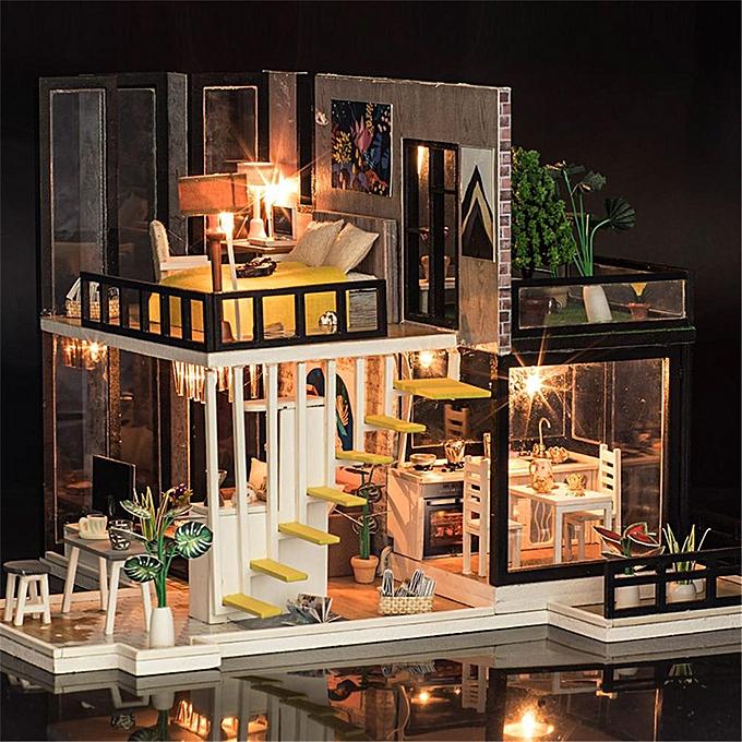OEM iiecreate K-033 Septembre Fores DIY Maison De Poupée Avec Des Meubles Lumière Couverture Cadeau Jouet à prix pas cher