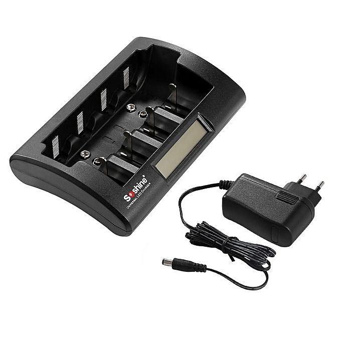 Generic TA Soshine CD1 Universal Battery Charger LCD Display NiCd NiMh AAA AA C D 9V -noir à prix pas cher