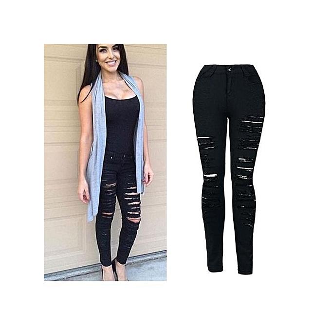 mode Xiuxingzi_femmes Denim Skinny Ripped Pants High Waist Stretch Jeans Slim Pencil Trousers M à prix pas cher
