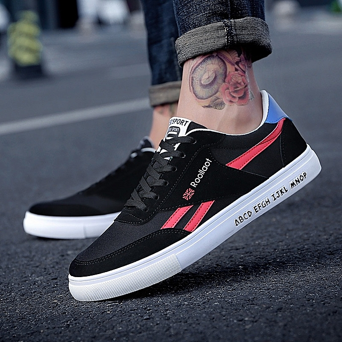 Other Spring New Men's Leisure chaussures Sports Board Men's Low-Up Moisture Breathable Canvas  baskets-rouge à prix pas cher