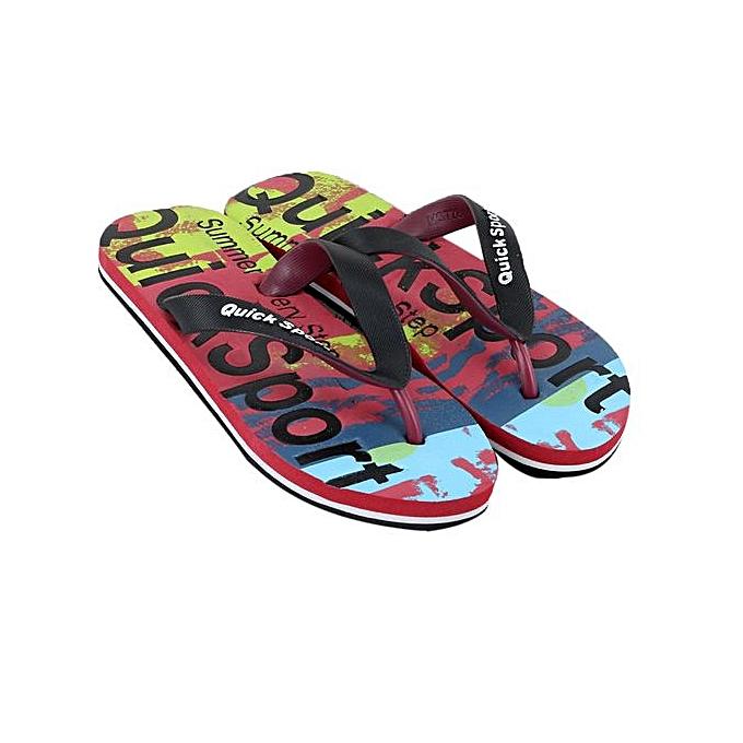 Fashion Jiahsyc Store Men Letters Beach chaussures Flip Flops Flat Slides Flip Flops Slippers Home Sandals-rouge à prix pas cher    Jumia Maroc