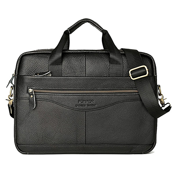 UNIVERSAL Vintage Men Genuine Leather Handbag Business Briefcase Messenger Shoulder Bag  noir1 à prix pas cher
