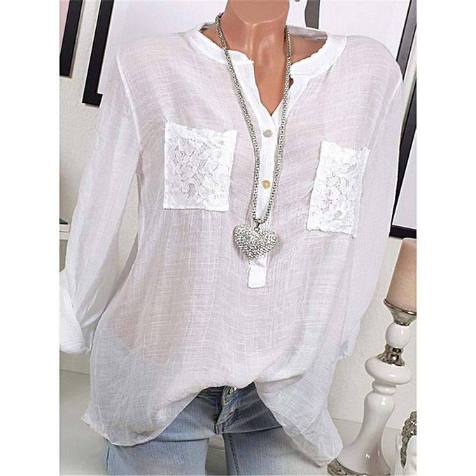 Fashion Casual femmes V-Neck Lace Patchwork Long Sleeve Blouse à prix pas cher