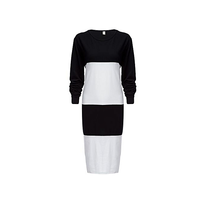 Generic HL Hit Couleur Spliced Thin Round Neck Striped Knit Dress For Ladies (blanc)(XL-5XL) à prix pas cher