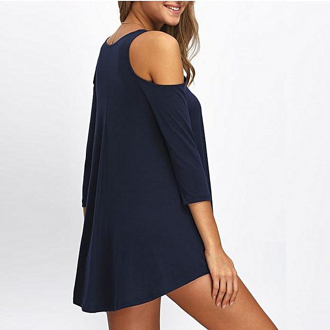 mode jiahsyc store  femmes mode Off Shoulder Solid Mini  Robe  BU L-bleu à prix pas cher