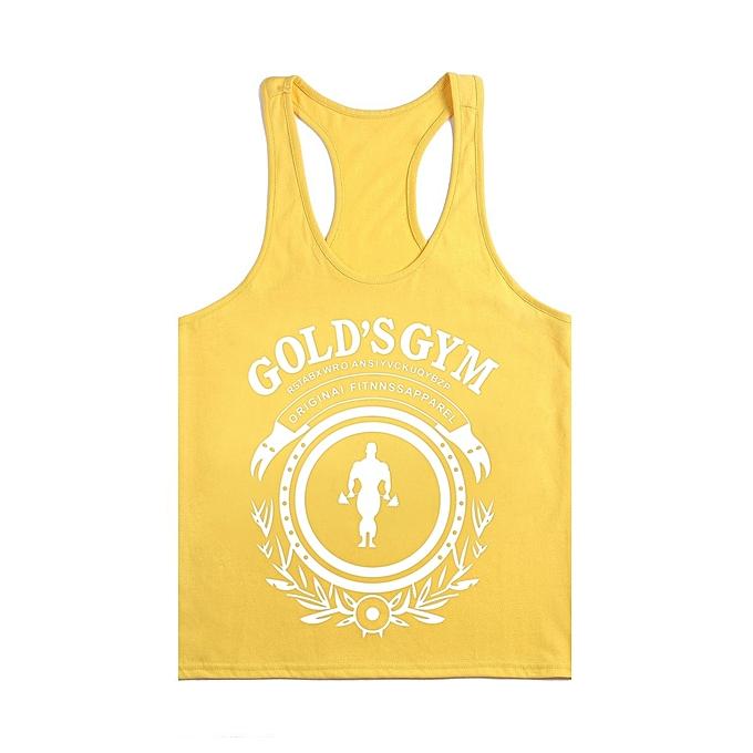 Other nouveau mode Hommes& 039;s été Sportswear BodybRuilding Cotton Sleeveless Training Vest-jaune&blanc à prix pas cher