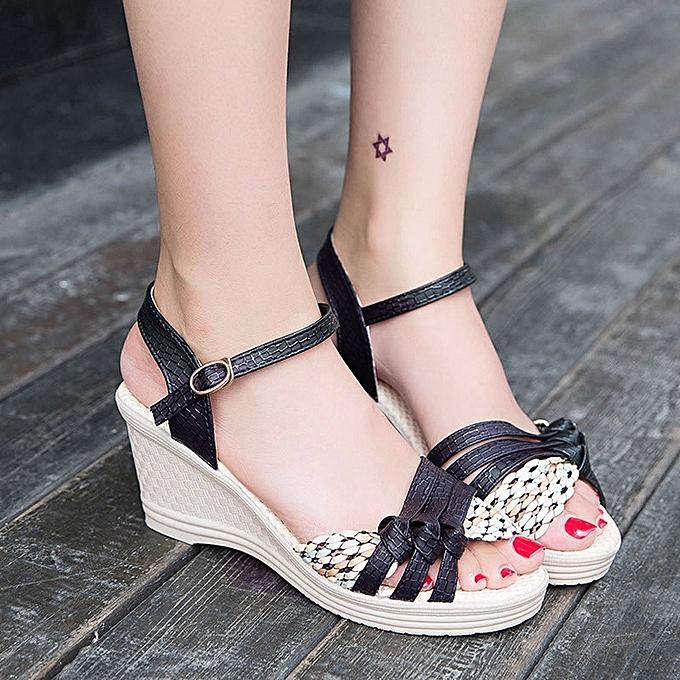 Générique Tcetoctre     WoHommes  Wedges Shoes Summer Sandals Platform Toe High-Heeled Shoes-Black à prix pas cher  | Jumia Maroc b19b99