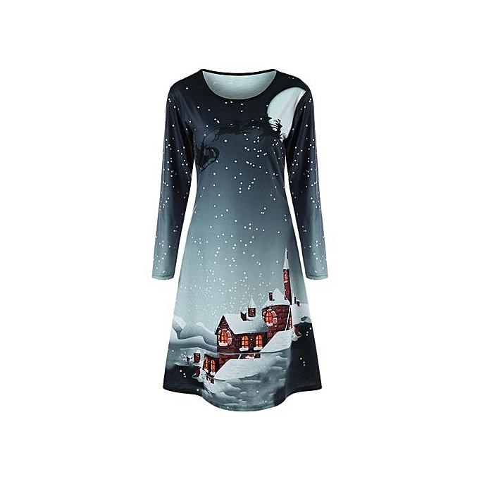 Generic HL Christmas Plus Taille Graphic Long Sleeve Tee Dress (vert gris)(XL-5XL) à prix pas cher