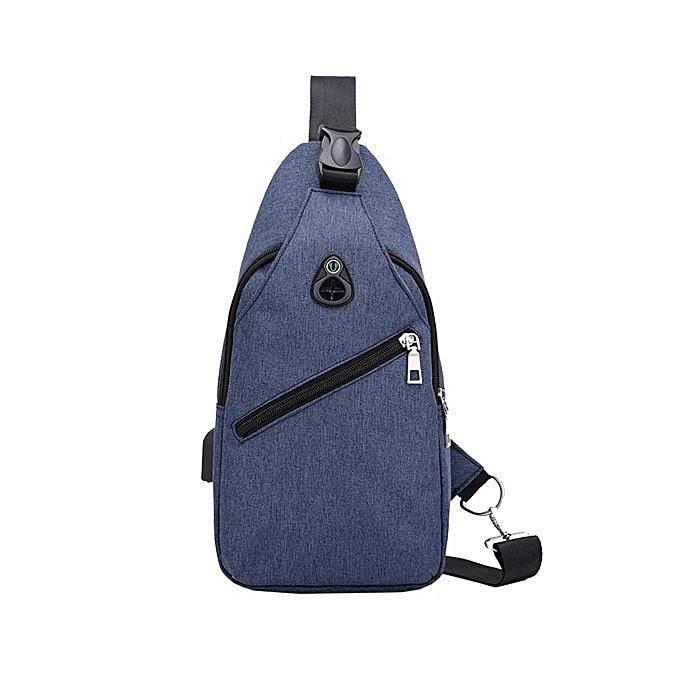 Other GGHB@Men Fashion Outdoor Pure Couleur USB Canvas Messenger Shoulder Bag Chest Bag(bleu) à prix pas cher