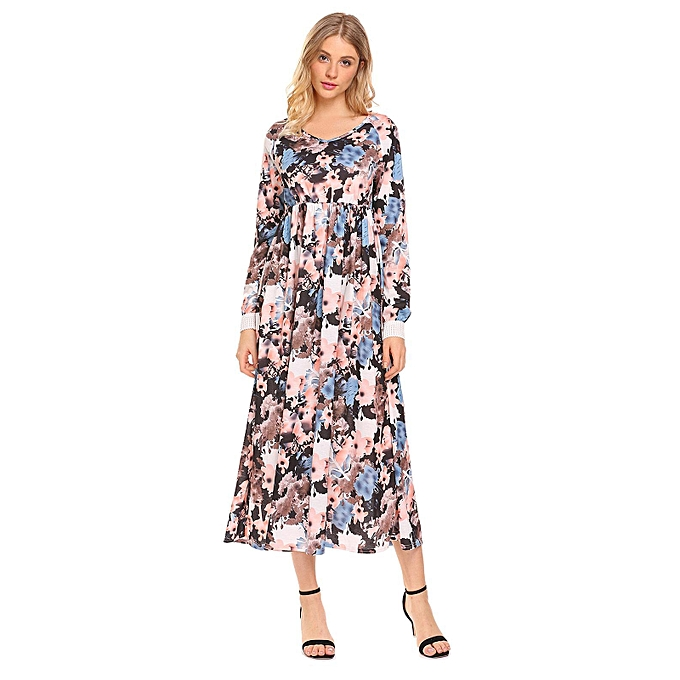 Sunshine bleu 100% Polyester V-Neck manche longue Maxi Robe For femmes à prix pas cher