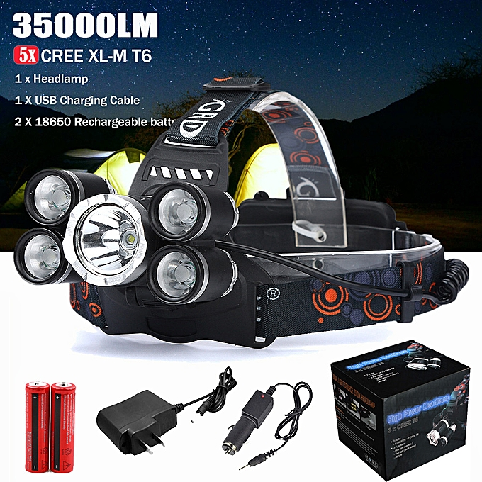Generic Haojks 35000LM 5x XM-L T6 LED Headlamp Headlight Flashlight Head Light Lamp 18650 à prix pas cher