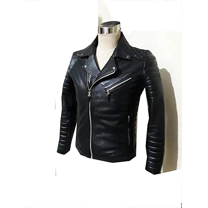 0b7840b21064e Veste cuir homme Artisanat Marocaine originale -peau de mouton- style  motard look de luxe