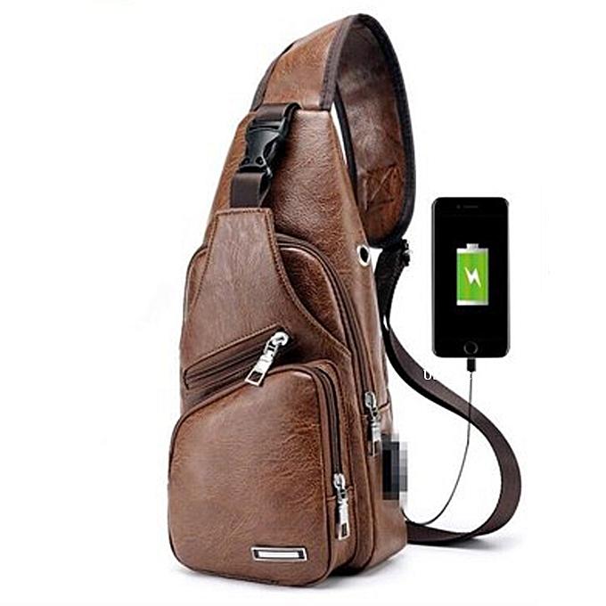 mode USB Charging Hommes's bandoulière sac Shoulder Check sac -lumière marron à prix pas cher