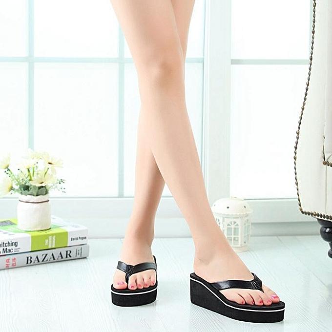 Fashion femmes Wedge Thong Flip Flops Platform Mid Heel Sandals Beach Leather chaussures noir-EU à prix pas cher    Jumia Maroc