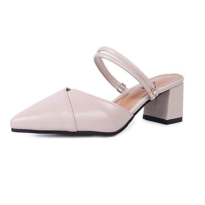 Fashion Chaussures en satin et demi-pantoufles à talons aiguilles - Beige à prix pas cher