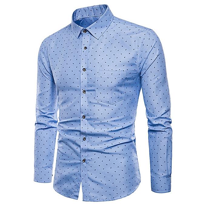 Fashion jiuhap store Mens Long Sleeve Oxford Formal Casual Suits Slim Fit Tee Dress Shirts Top BU L à prix pas cher