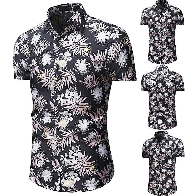 mode jiuhap store Hommes& 039;s FFaibleer Décontracté Button Down manche courte Hawaiian Shirt Top chemisier à prix pas cher