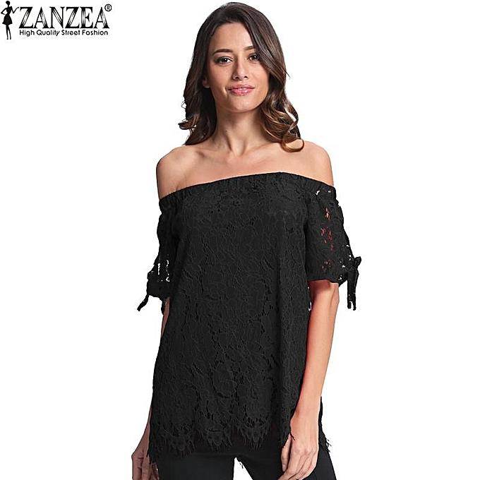 mode ZANZEA mode bleusas femmes été Off Shoulder Lace chemisier hauts Slash Neck Solid Loose Décontracté Shirts Plus Taille(noir) à prix pas cher