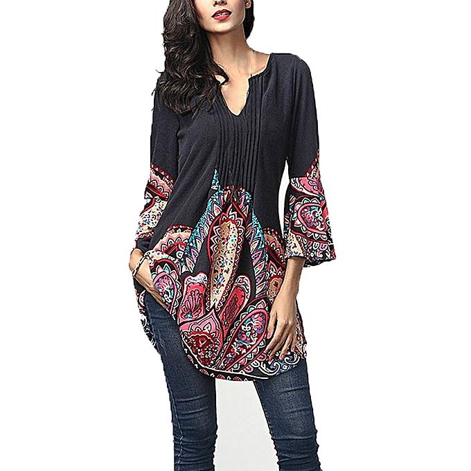 Generic Generic femmes Three Quarter  Sleeved  V-Neck  Printed hauts Loose T-Shirt chemisier  A1 à prix pas cher