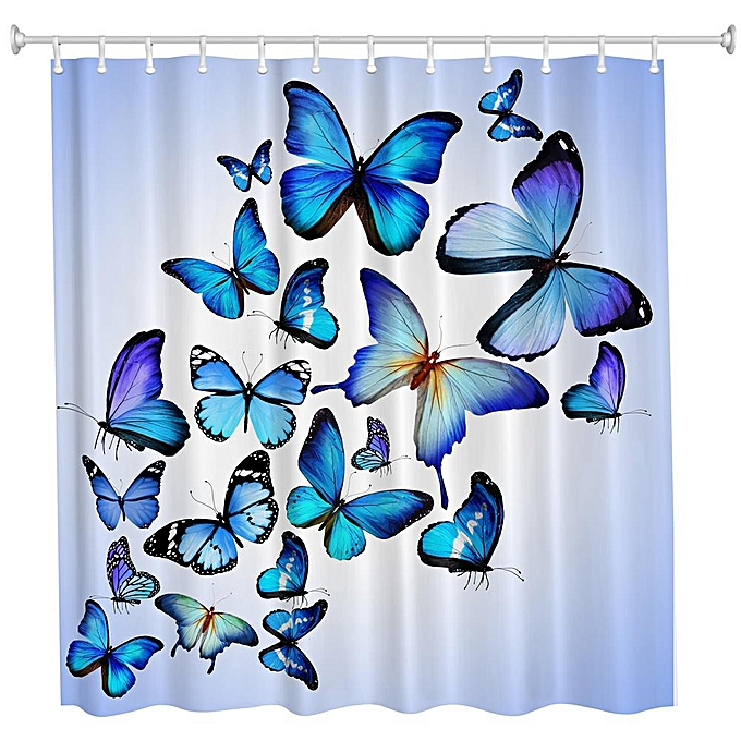 Other Butterfly Combination Polyester Shower Curtain Bathroom High Definition 3D Printing Water-Proof à prix pas cher