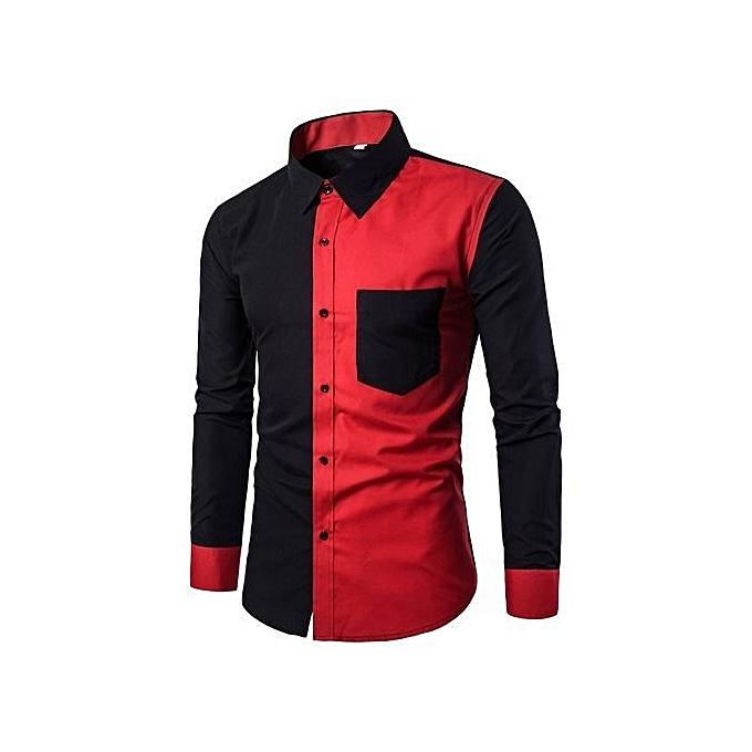 Cuena Pour des hommes mode Décontracté Slim Fit mode Shirts manche longue Shirt chemisier BK 3XL-noir à prix pas cher