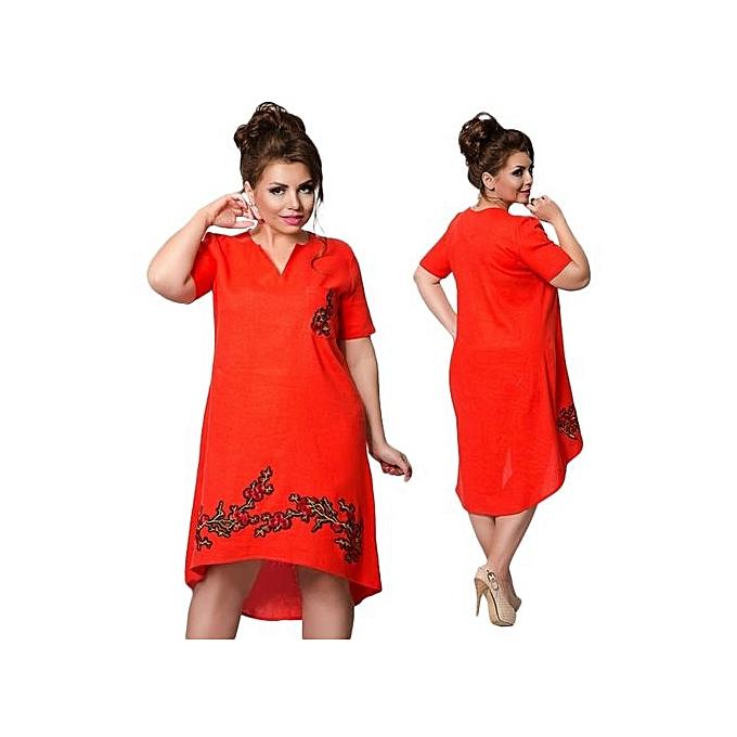 mode femmes Robe grand Taille Loose Female Big Taille Clothing Elegant Plus Taille Autumn Ladies Robe V-Neck Vestidos-rouge à prix pas cher