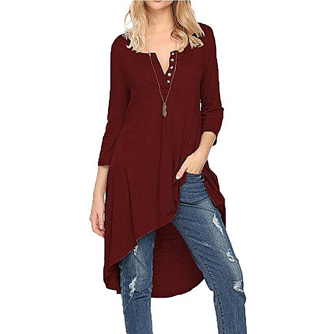 Tauntte femmes Dresses Crewneck Buttoned Party Blouse (Wine rouge) à prix pas cher