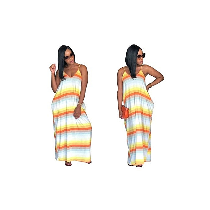 Fashion 2018 Hot Style Suspenders Double Pocket Dresses Summer Hits Multicolojaune Beach Skirts-jaune à prix pas cher