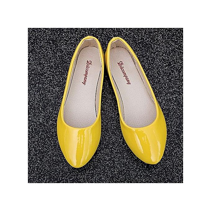 mode Xiuxingzi_femmes Lady Flat Pointed Toe cuir Slip On Décontracté Loafers chaussures jaune 41 à prix pas cher