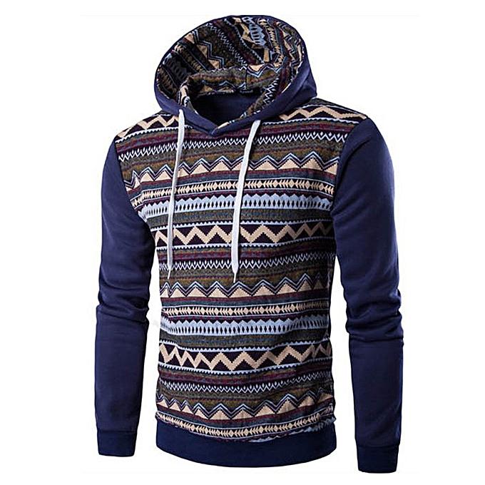 mode Hommes& 039;s Autumn Winter National Style Print manche longue sweat à capuche Top chemisier -bleu à prix pas cher