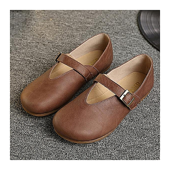 Fashion SOCOFY Hollow Out Buckle Buckle Out Leather Soft Flat Casual Slip On Loafers Fashion WoHommes  Shoes à prix pas cher  | Jumia Maroc 602037