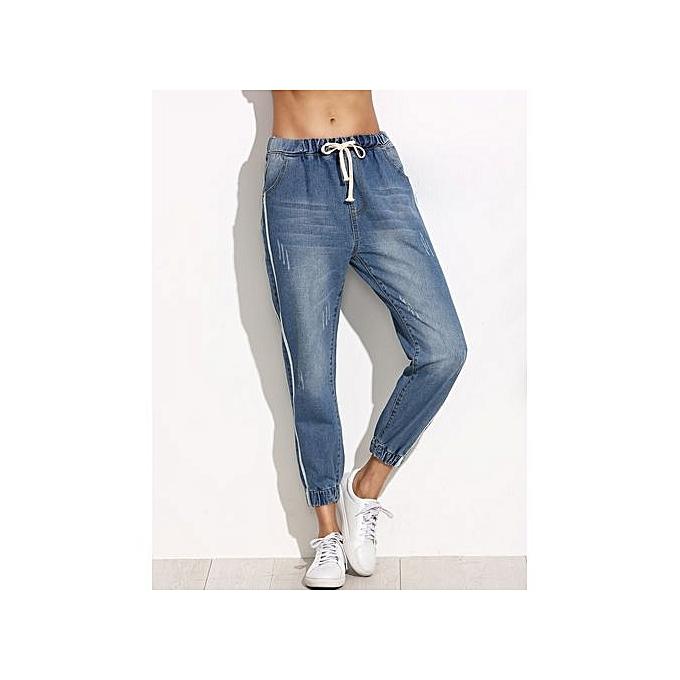 SHEIN Side Stripe Elastic Cuff Jeans à prix pas cher