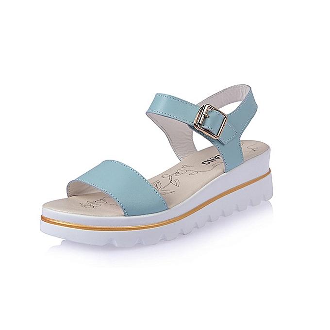 mode femmes été Wedge Sandals Soft Comfortable respirant cuir plage Sandal chaussures à prix pas cher