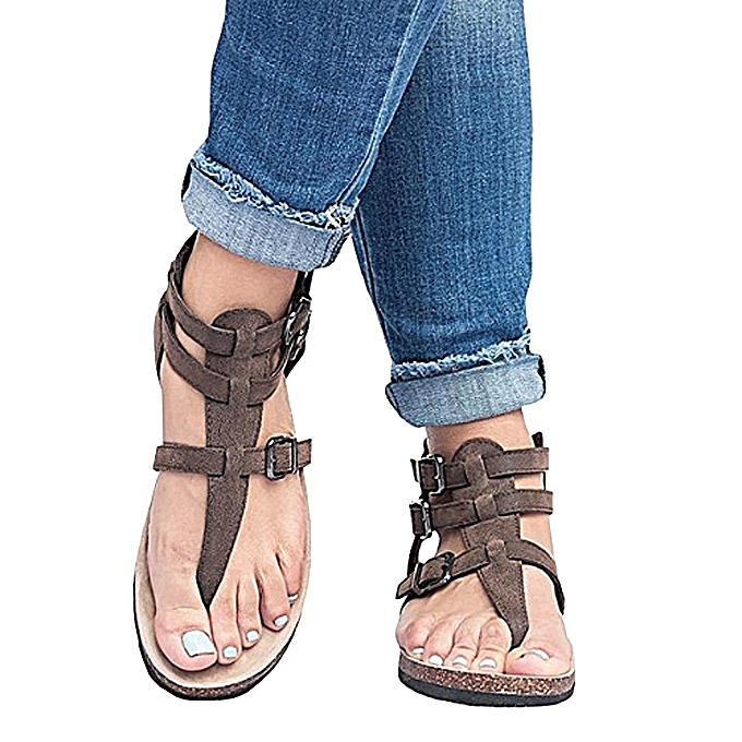 Fashion Ladies Sandals Fashion Buckles Flat Ankle Beach chaussures Rohomme Slippers-marron à prix pas cher    Jumia Maroc