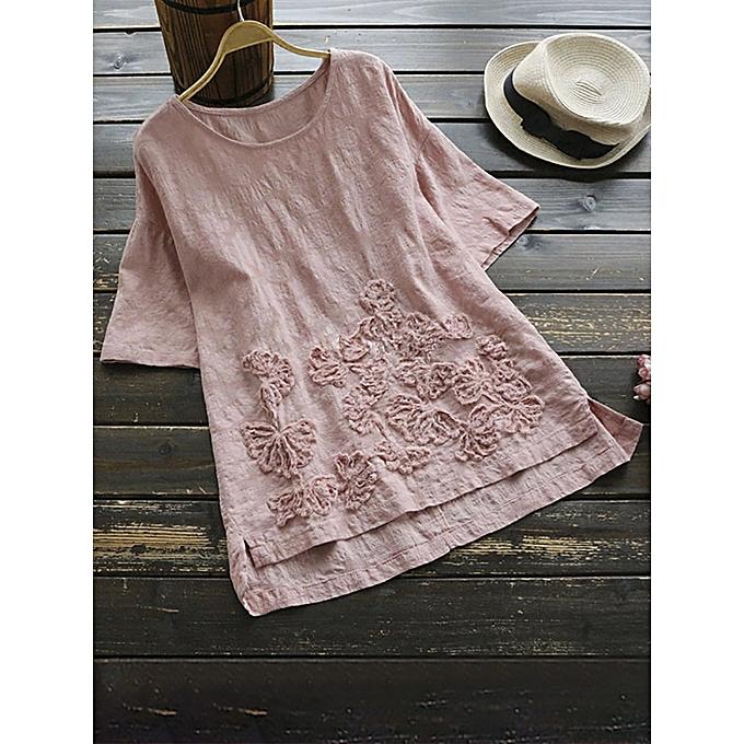 Fashion Blouse à manches courtes Vintage femmes Pure Couleur irrégulière Hem à prix pas cher