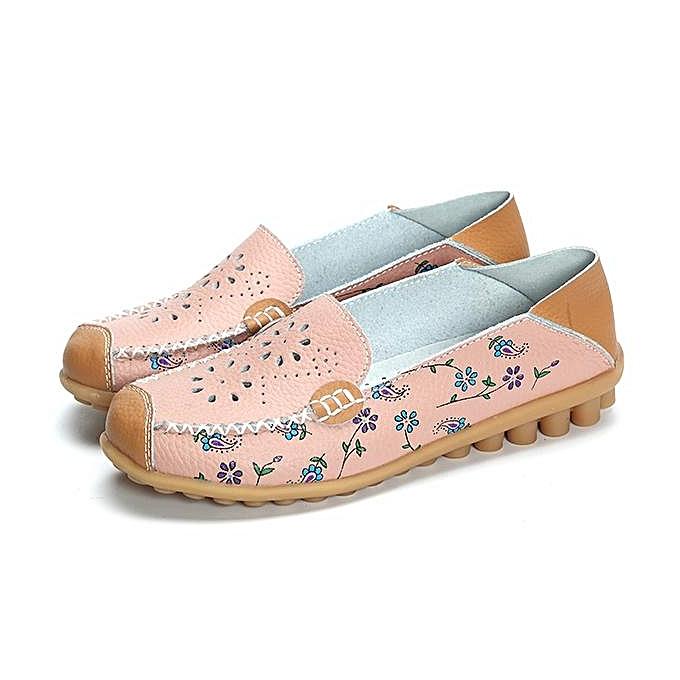 Fashion Fashion Floral Print Hollow Out Breathable Couleur Match Casual Slip On Flat femmes Boat chaussures à prix pas cher    Jumia Maroc