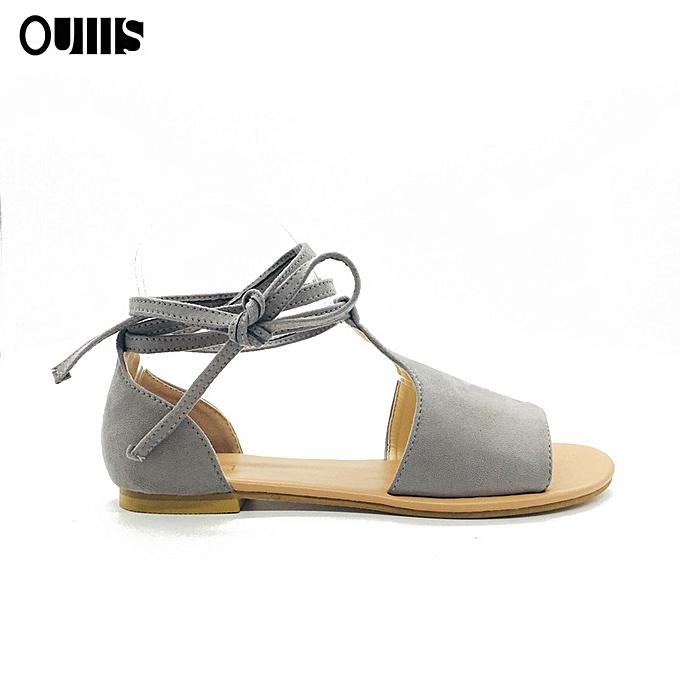 Fashion Large Taille flat heel straps with sandals gris à prix pas cher