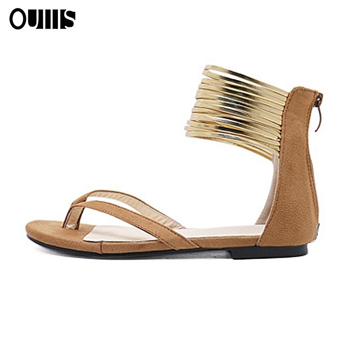 Fashion or-tone toe flat sandals marron à prix pas cher