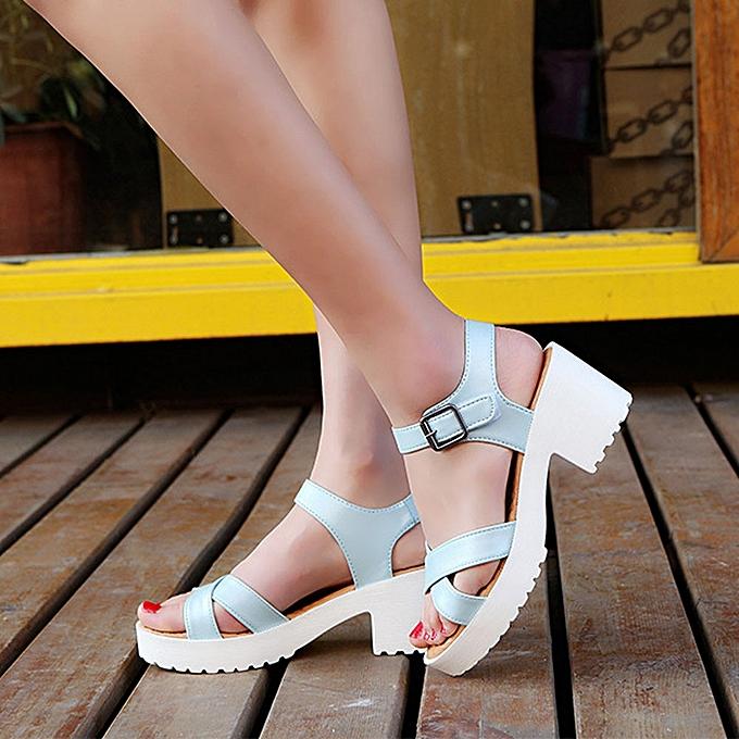 Fashion Blicool Shop femmes Sandals Summer Rough Sandals Woman Open Toe Fish Mouth High Heel Outdoor Platform chaussures -bleu à prix pas cher
