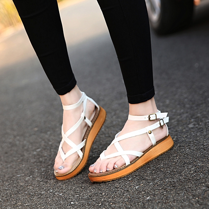 Fashion Summer new girl student sponge cake flat large Taille femmes chaussures à prix pas cher