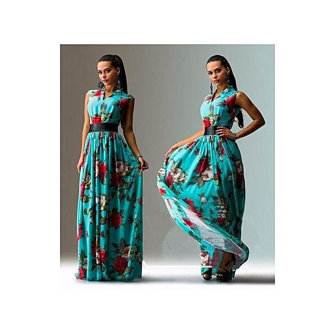 mode Evening Party Robe Plus Taille nouveau Arrival femmes Elegant V-neck Hot Selling Robe-bleu à prix pas cher