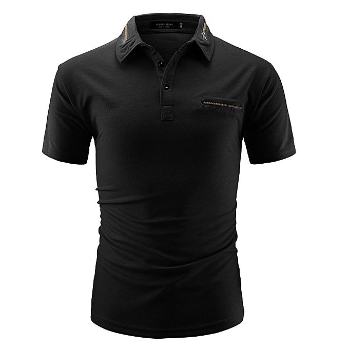 mode Hommes Shirt mode Solid Couleur Male Décontracté Zipper manche courte Shirt BK L à prix pas cher