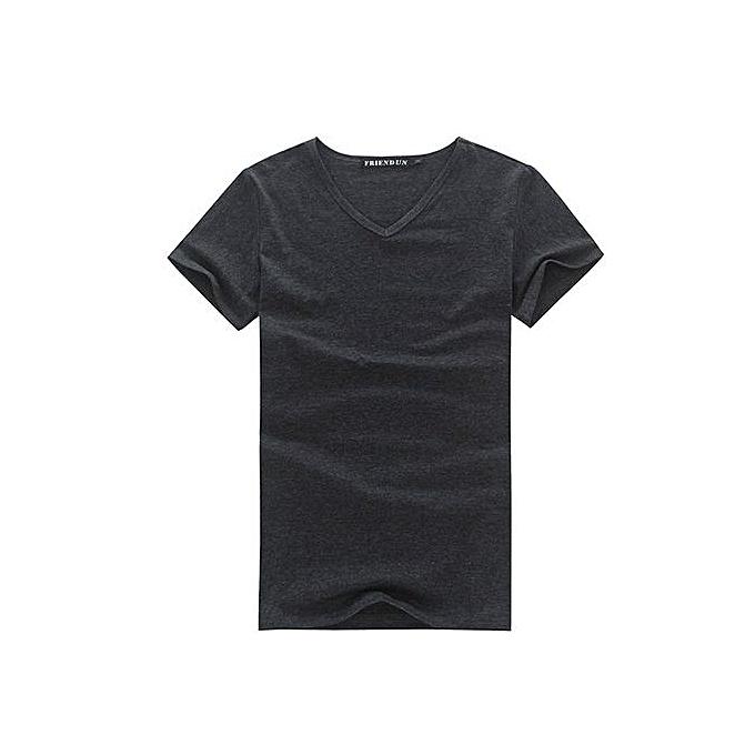 Generic Hommes& 039;s Décontracté V-neck manche courte Shirt (Dark gris) à prix pas cher