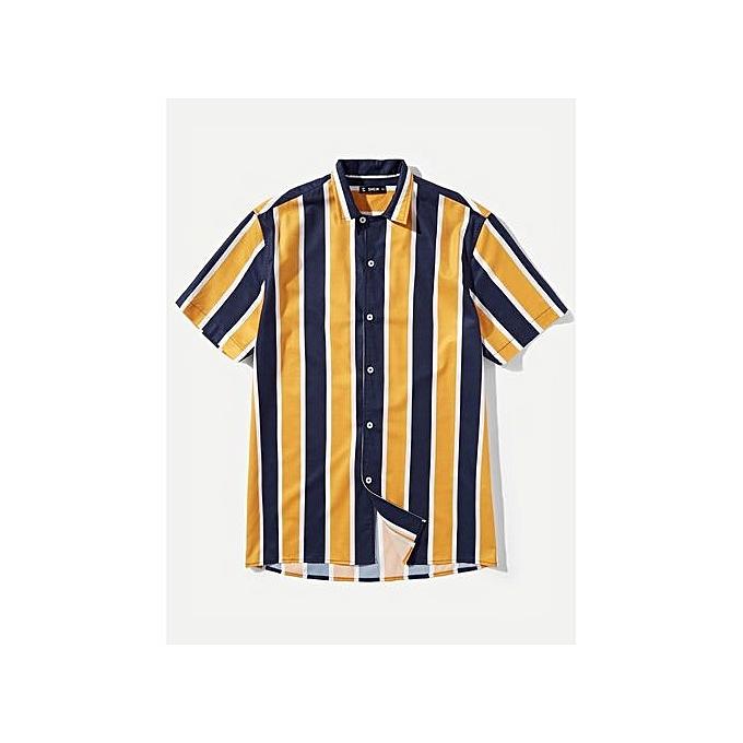 SHEIN Hommes Couleur Block Shirt à prix pas cher