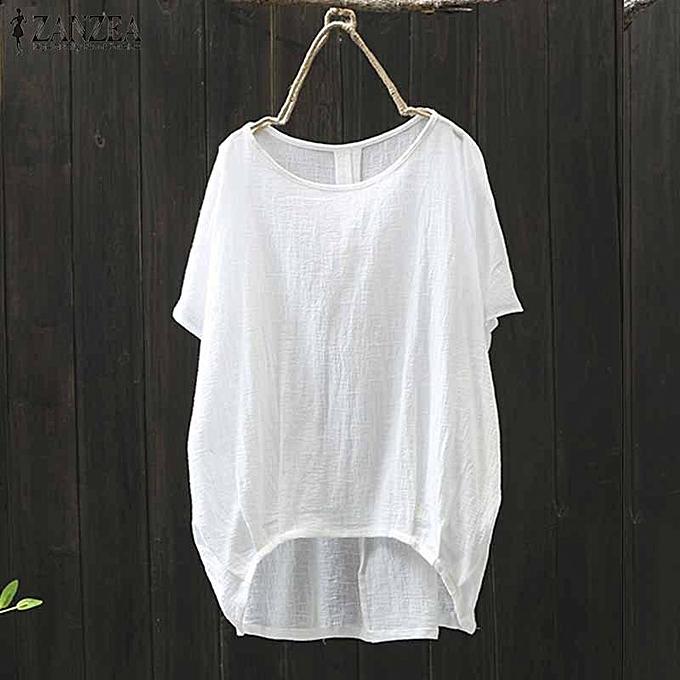 Zanzea ZANZEA femmes Batwing Sleeve Casual Asymmetrical Shirt Tops Irregular Hem Blouse à prix pas cher