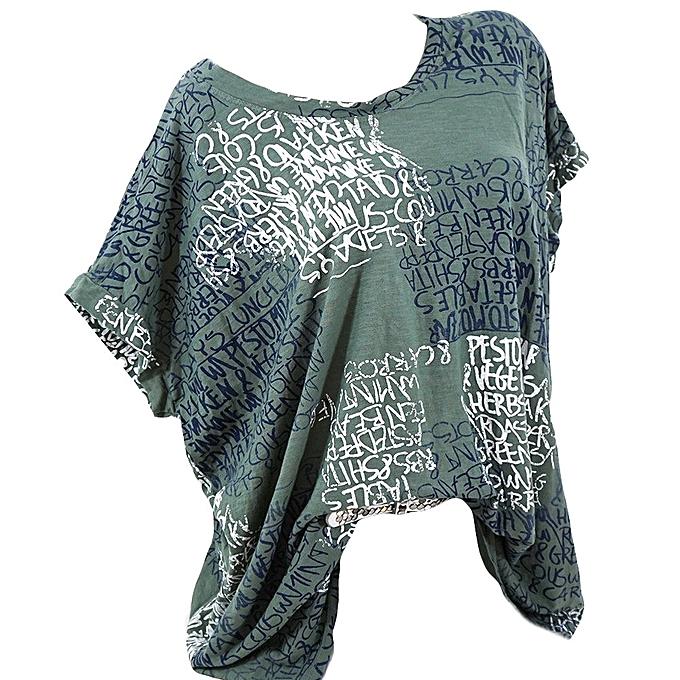 Generic Generic femmes Fashion Short Sleeve Blouse Letter Print Sexy Shirts Pocket Tops (S-5XL) A1 à prix pas cher